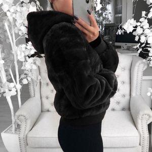 Faux fur Coat Women With Hood Oversize Coats High Waist Female Slim Fit Overcoat Tops Winter Warm Plush Jackets Outwear