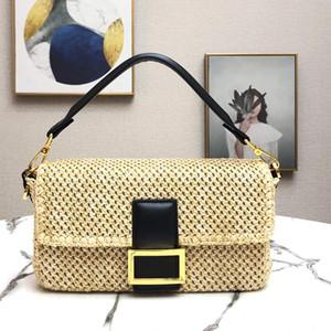 Высокое качество Crossbody сумка Новый элегантный соломы мешок дамы плеча Кошелек Летняя мода женщина посыльного сумки Короткие Рукоятки