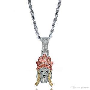 Iced Out Трипитака Monkey King Pigsy Sandy ожерелье Bling Характер Путешествие на Запад ювелирных Micro Pave фианитами