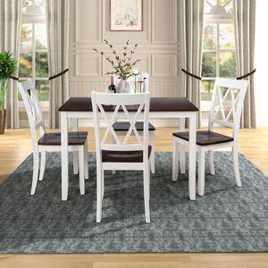 entrepôt américain 5 pièces Table à manger RÉGLER Cuisine table et chaises en bois salle à dîner (blanc + cerise) SH000088AAK
