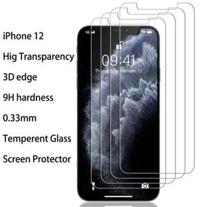 شاشة 0.33mm الزجاج المقسى حامي آيفون 12 برو ماكس شفافية عالية 3D حافة 9H صلابة حارس الشاشة