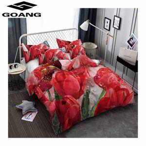 Yatak takımları Goang yorgan çarşafları ikiz çift kral kraliçe nevresim 240/220 euro kırmızı lale çiçek çarşaf seti