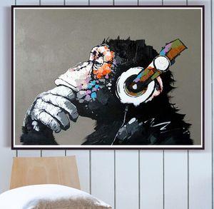 Street Art Pittura a olio Banksy Monkey Canvas Decorativos Pop Art Love Graffiti Picture Print Abstract Wall Art Poster Home Decor