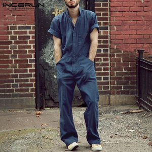INCERUN hombres mono pantalones casuales sólido Joggers Streetwear 2020 Loose Shortsleeve moda para hombre Trajes de carga de los mamelucos S-5XL