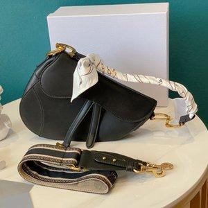 2020 Fashion Lady Saddle Bag Black Зернистых телячьи задний карман сумка женщины Crossbody Сумка Два пояса Мини Корзина кошелек с коробкой