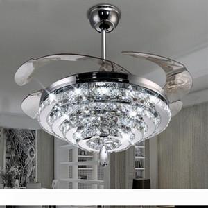 Uzaktan Kumanda ile LED Kristal Avize Fan Işıklar Görünmez Fan Kristal Işıklar Salon Yatak Odası Restoran Modern Tavan Fan 42 İnç