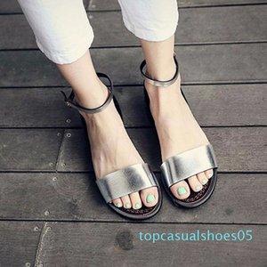 QWEDF argent Sandales plates Sandales solides Femmes souple plage Chaussures d'été Chaussons Argent Sandalias Mujer Femme Sandale A8-170 T05