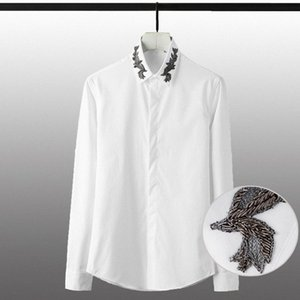 Coton lou Hommes Chemises de luxe Inde fil de broderie collier robe à manches longues Hommes Chemises Taille Plus Solid Homme Couleur Zcfw #