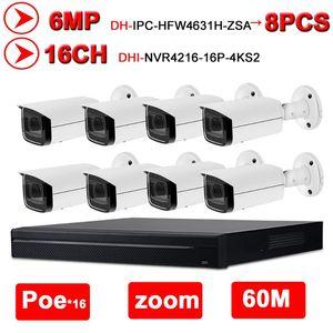 Dahua Security CCTV System 8PCS 6MP NVR KIT كاميرا IP IP IPC-HFW4631H-ZSA + 16POE 4K NVR NVR4216-16P-4KS2 نظام المراقبة الرئيسية
