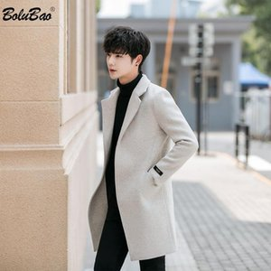 BOLUBAO Brand Men Wool Blend Coats Autumn Winter New Men's Solid Color Mid-Length Wool Blend Coat Fashion Casual Coat Male
