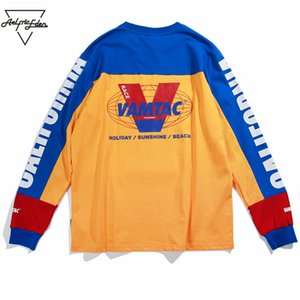 Aelfric Eden Manica lunga T-shirt uomo Lettera stampata Casual T Shirt Color Block Fashion HARAJUKU Cotone Cotton Hip Hop Tee Shirt MT10