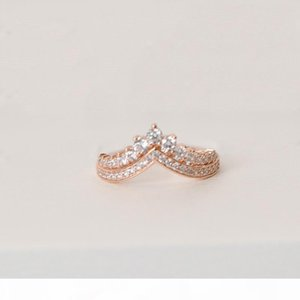 F Princess Wish Wedding Ring 100 %Sterling Silver Rose Gold Plated High Quality Cz Diamond Original Box Set For Pandora Women &#039 ;S