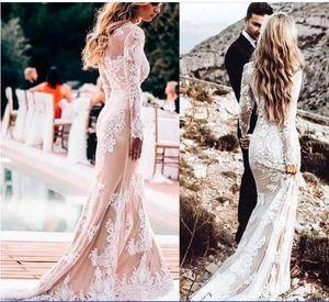 2020 Vestidos De Novia Mermaid Wedding Dresses Crew Neck long Sleeves Country Style Bridal Gowns Bohemain Boho Wedding Dress BC3199