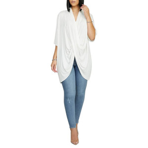 Women Irregular V Neck Tshirt Overlapping Short Sleeve Solid Color Tees Ladies Casual Clothes