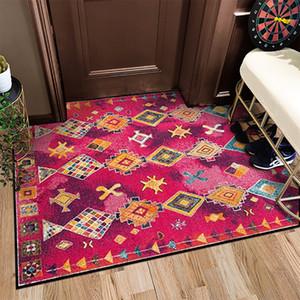 Bohemia Ethnic Style Geometry Diamond Plaid Rugs Non-slip Washable Durable Area Rug for Bath Livingroom Bedroom Hallway Doormat