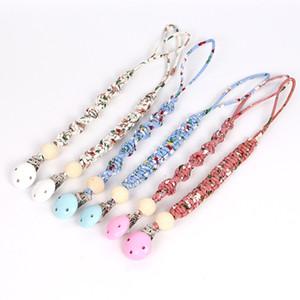 New Style Hot Vente Moins cher Perles fil Couleur Tissu imprimé bande tissée Titiller Pacifier chaîne Dummy Clips Porte-Teether sensorielle Molar Jouet