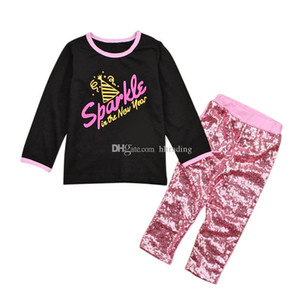 Baby girls INS outfits children Long sleeves letters print top+Sequins pants 2pcs set 2018 new Boutique kids Clothing Sets C3710
