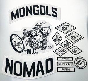 De calidad superior MONGOLES NOMAD MC motorista chaleco bordado Parche 1% MFFM en la memoria hierro en completa espalda de la chaqueta de Motorcyle de envío libre de parche jVZs #