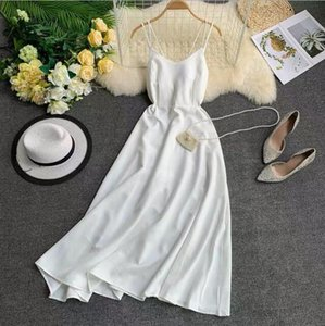 2020 New-Coming Spring Summer Holiday Dress Cross Spaghetti Strap Open Back Solid Beach Style Ankle-Length Women Dresses