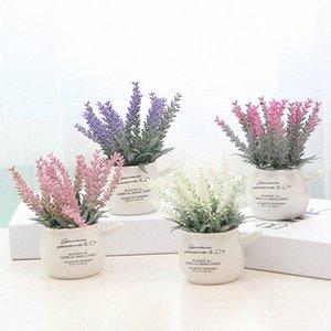 Nouvellement 1 Pcs artificiel Mini Plantes en pot Décoration Lavande Bonsai Floral JxHA # Potted