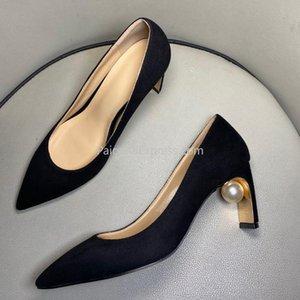 2020 Yeni Moda Altın Topuk İnci Ayakkabı Gerçek Deri Siyah Parti Ayakkabı Kadın 10cm Zapatos Mujer Tacon Size34-43 pompaları