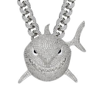 Plein Zircon cubique Collier Shark pendentif homme 6IX9INE Hip Hop bijoux bling avec Glacé cristal Miami chaîne cubaine lien
