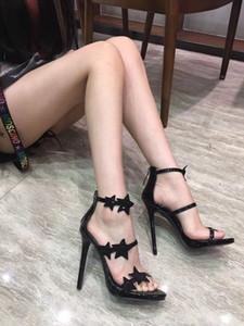 El envío libre manera del cuero genuino foto real Luxura Mujeres Negro Strass estrella de tiras plataforma de los tacones altos de las sandalias de los zapatos de 12 cm