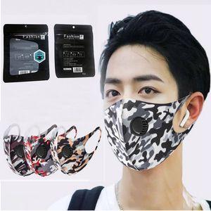 Máscaras camuflagem lavável rosto com válvula PM2.5 Respiração Respirador Ice Silk Cotton máscara protetora Camo reutilizável pacote Individual