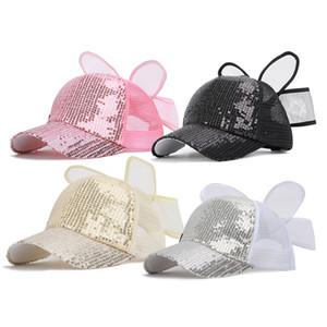 Новая мода Shiny Детская бейсболка Весна Лето бант Mesh Hat Дети Мальчик Девочка Детские пришивания Snapback Черный M