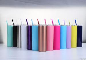 amazon vente chaude à double paroi en acier inoxydable 304 vide isolé 20 oz Skinny tasses Tumbler avec couvercle et paille AHC1029