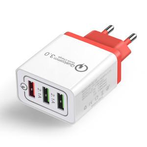 Cgjxsusb caricabatterie da muro Moda Qc 3 .0 Quick Charge 5v / 9v / 12v di viaggio per Mobile Phone Charger 3 porti degli Stati Uniti Plug Eu Plug 2 .4a di ricarica rapida
