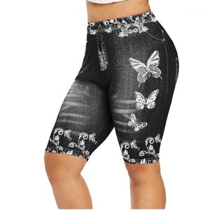 Fashion Female Clothing Summer Womens Designer Leggings Pants Solid Color Hight Waist Butterfly Printed Stright Pants Imitation Jeans