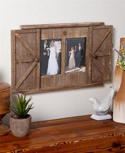 US Instock Legno Barn Door Picture Frame 2 aperture 5x7 da regalo in legno rustico parete Photo Frame Home Art Decor per Foto