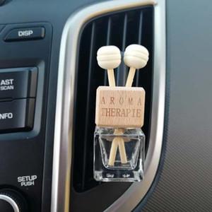 Legno 8ML Car Vent clip della bottiglia di profumo retrovisore Hanging Ornament Cube profumo bottiglia vuota Aria Profumo oli essenziali diffusore