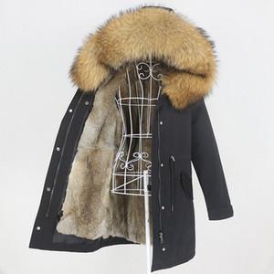 OFTBUY 2020 long imperméable Parka naturel fourrure de raton laveur col capuche fourrure doublure manteau réel hiver Veste femme amovible