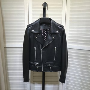 Chic women's Leather Biker jackets 2020 Autumn New designer High quality sheep skin Real leather coat C308