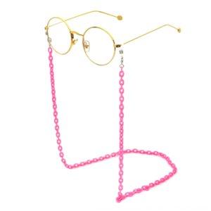 02Y8Z resina acrílica acetato de plástico estampado de leopardo platillo gafas fina cadena cuerda respetuosa del medio ambiente de cadena gafas