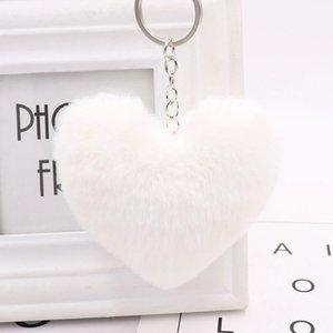 Moda Anahtarlık Topu Anahtarlık Aşk Yumuşak Yapay Rex Tavşan Saç Topu Araba Anahtarlık Bayan Çanta kolye