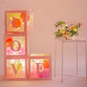 """4pcs / lot Plastik Şeffaf Küp Balon Box ile """"Bebek / Love"""" Çıkartma Organizatör İçin Bebek Düğün Doğum çocuk Kız Hediyeler YE0q #"""
