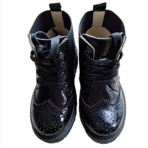 Black Girls' Boots Cow Leather Children's Martin Boots Boys' Short British style single