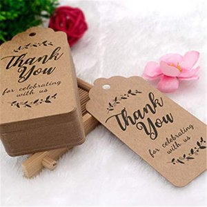 100pcs White brown Kraft Gift Tags Thank You Paper Tags for Baby Shower Party Favors Personalized Wedding Gifts for Guests