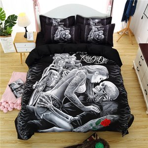 3D Skull Bedding Set Beauty Kiss Skull Print Duvet Cover Pillowcases Twin Queen King Size Motorcycle Red Rose Bed Cover
