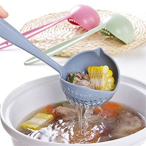 2 in 1 Long Handle Soup Spoon Home Strainer Cooking Colander Kitchen Scoop Plastic Ladle Tableware Kitchen Gadgets Free Shipping