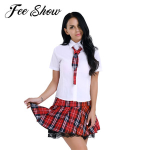 Costume Studentessa FEESHOW adulto sexy per il ruolo-giocare Uniform Giochi Donne Girls School Outfit Halloween shirt Minigonna Suit