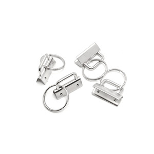 50 Sets 25MM Wristlet clés Fob Matériel de la chaîne de bricolage Ensembles avec porte-clés PLOMB queue clip Sac Ruban queue clip 25 mm Nickel Anneau clés en métal nouveau