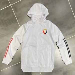 New 2020-21 mens Osasuna casaco de inverno hoodie do futebol jaqueta corta-vento cheio zipper futebol jaqueta moletom com capuz jaquetas masculinas