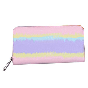 6 cores designer de Carteira de luxo Designer Marca Womens Carteiras Escale longo Zippy carteiras Senhora revestimento de couro genuíno carteiras de lona