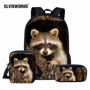 ELVISWORDS Cute Raccoon School Bag Set For Girl Boys Kids Backpacks Childrens Travel Bag Teen Student Book Mochila Escolar 6b9h#