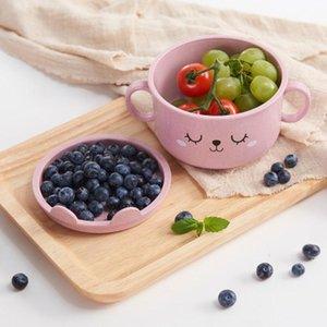 1pc Karikatur-Baby-Schalen Teller Kinder Nahrungsmittelbehälter Tischset Geschirr Infant Feeding Bowl Kind Kinderfutterteller Geschirr