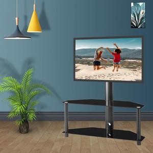США STOCK Высота и угол регулируемый Многофункциональный закаленное стекло металлический каркас пола Подставка под телевизор LCD TV кронштейн плазменный телевизор кронштейн W24104948